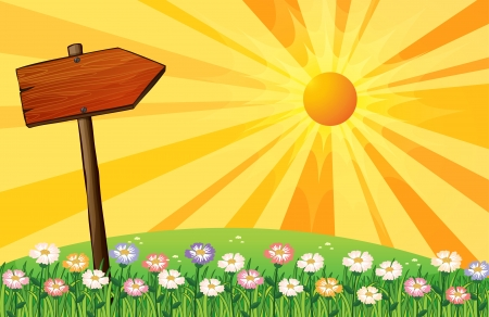 nature scenery: Illustration of a sunset with a wooden arrow board