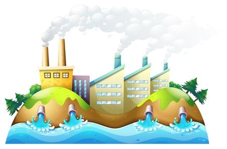 abwasser: Illustration einer Stadt mit Fabriken auf einem wei�en Hintergrund