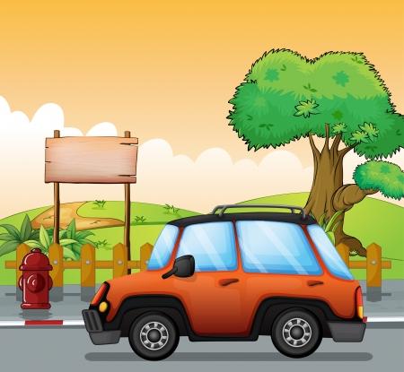 Illustration eines orange Auto entlang der Straße mit einem hölzernen Schild