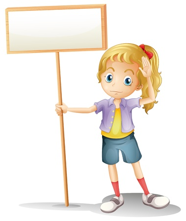 Illustration of a girl holding an empty signboard on a white background Vector