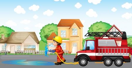 servicios publicos: Ilustraci�n de un bombero que sostiene una manguera con un cami�n de bomberos en la parte posterior