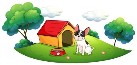 Illustration of a dog outside its dog house on a white background Illustration