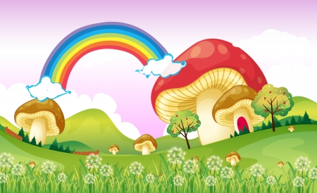 rainbow scene: Illustration of mushrooms near the rainbow