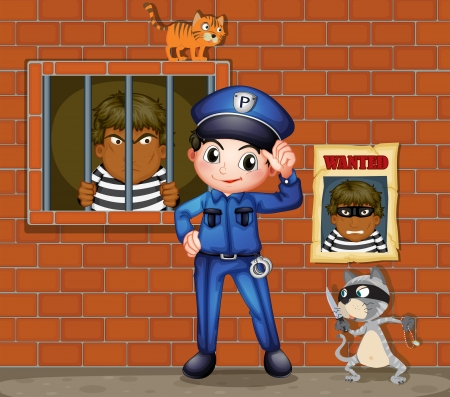 cop: Illustration of a policeman in front of a jail with two cats