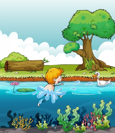 children pond: Illustration of a boy swimming with a duck in the river