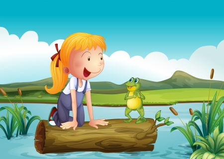 floating on water: Illustration of a girl with a frog in the river