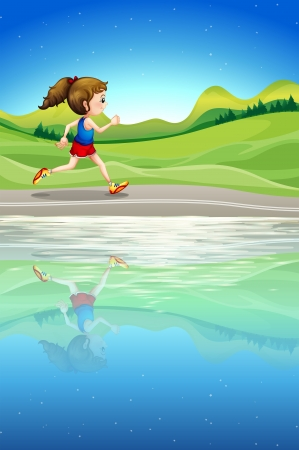 Illustration of a girl running along the river Vector