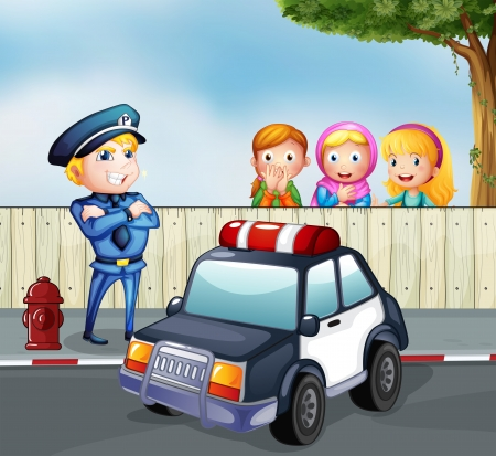 Illustration of a policeman and the three girls outside the fence Vector
