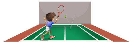 Illustration of a boy playing tennis at the court on a white background Vector