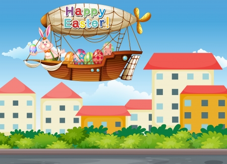 Illustration of a happy easter greeting with a bunny inside the aircraft Stock Vector - 18210403