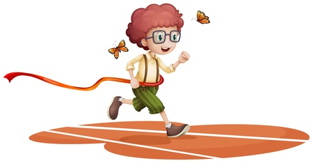 Illustration of a boy running with two butterflies on a white background Illustration