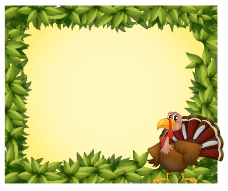 thanksgiving art: Illustration of a green border with a turkey on a white background Illustration