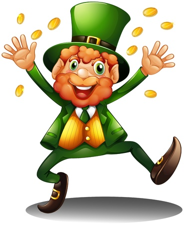 Illustration of an old man throwing coins for St. Patrick's Day on a white background Vector