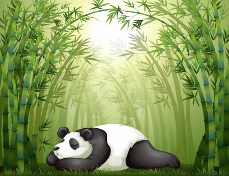 Illustration of a panda sleeping between the bamboo trees