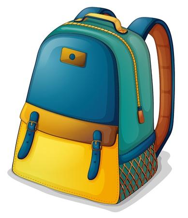 Ilustración de una mochila de colores sobre un fondo blanco