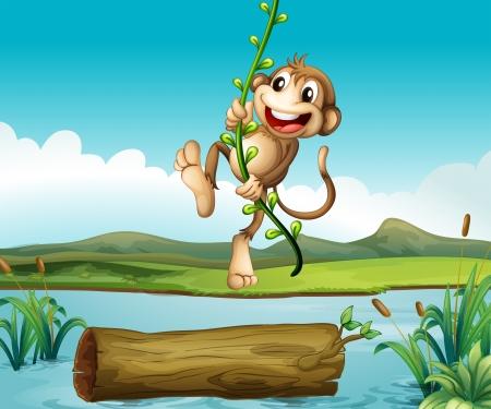 Illustration of a monkey swinging