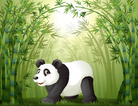 Illustration of the bamboo trees with a panda at the center Vector
