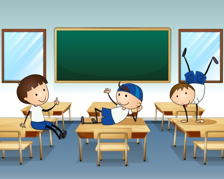 Illustration of the three boys playing inside the classroom