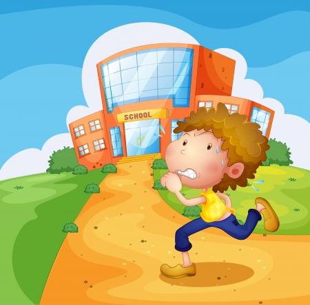 Ilustraci�n de un muchacho que corre en frente de la escuela