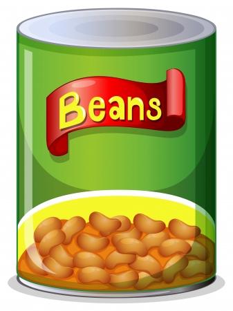 tin cans: Illustratie van een blikje bonen op een witte achtergrond