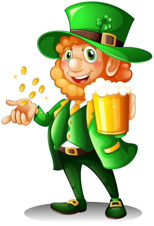 leprechaun hat: Illustration of an old man with a glass of bear and coins on a white background