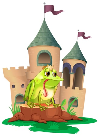 Illustration of a frog in front of a castle on a white background Vector