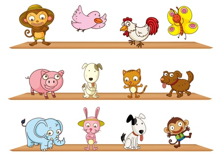 pupy: Illustration of the diffrent kinds of toy animals on a white background Illustration