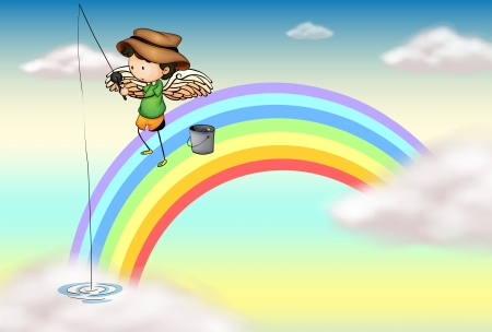 Illustration of an angel fishing above the rainbow Vector