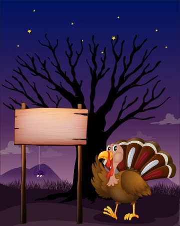Illustration of a wooden signboard beside a turkey Vector