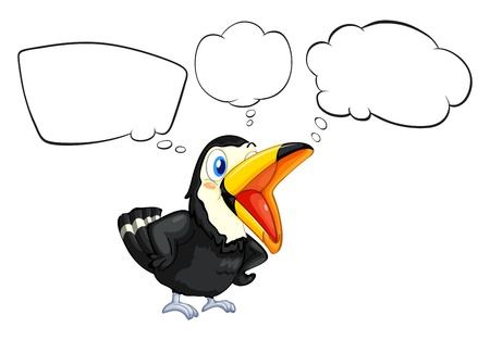 pics: Illustration of a black bird with empty callouts on a white background