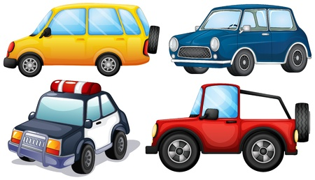 Illustration of the different kinds and colors of cars on a white background Vector