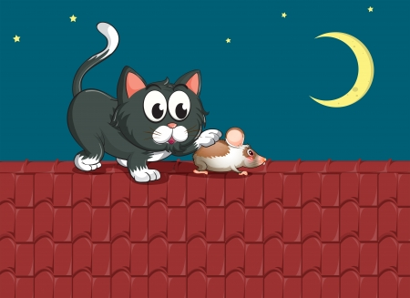 tile roof: Illustration of a cat and a mouse at the rooftop