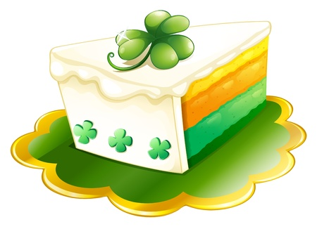 Illustration of a slice of cake for St. Patrick's Day on a white background Stock Vector - 18210155