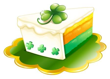patron saint of ireland: Illustration of a slice of cake for St. Patricks Day on a white background Illustration