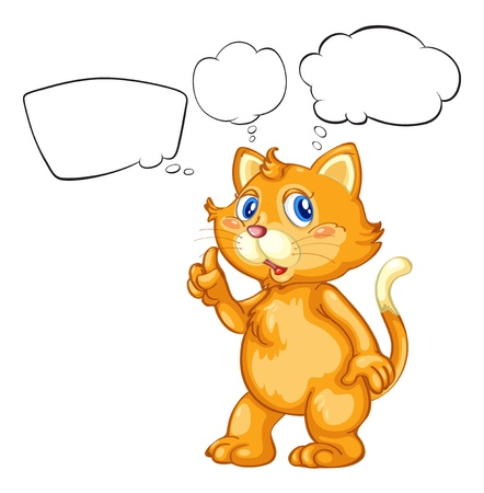 Illustration of a cat with empty callouts on a white background Vector