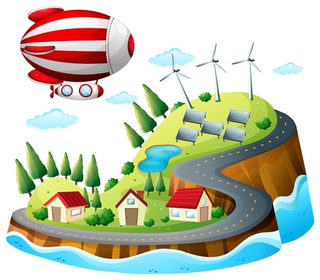 Illustration of a village with an airship above on a white background Vector