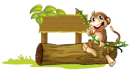 Illustration of a monkey sitting with a wooden signboard on a white background Vector