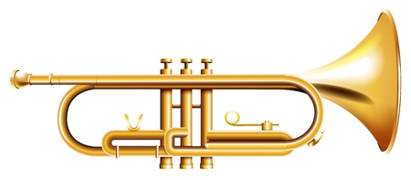 Illustration of a golden trumpet on a white background