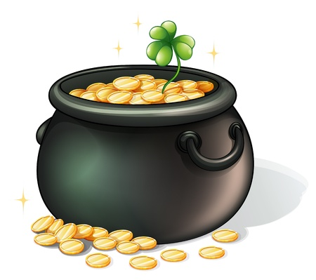 patron saint of ireland: Illustration of a black pot with coins on a white background Illustration