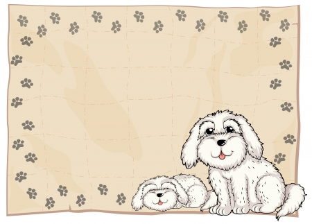 Illustration of two white dogs beside a frame on a white background