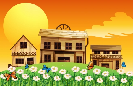 wooden houses: Illustration of the three wooden houses with flowers Illustration