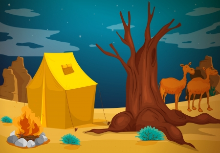 Illustration of a tent with a camp fire Vector