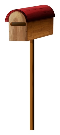 Illustration of a mailbox made of wood on a white background Vector