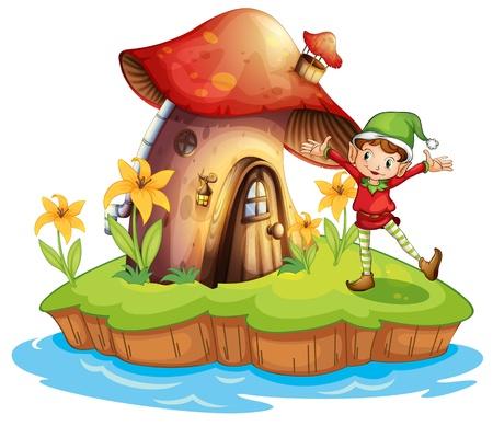 cartoon elfe: Illustration eines Zwerges au�erhalb eines Pilz Haus auf einem wei�en Hintergrund