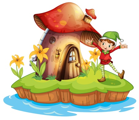 green elf: Illustration of a dwarf outside a mushroom house on a white background