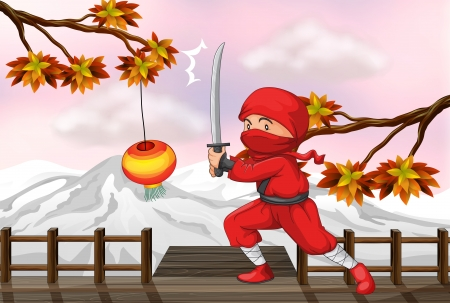 Illustration of a red ninja with a sword at the wooden bridge Stock Vector - 18266146