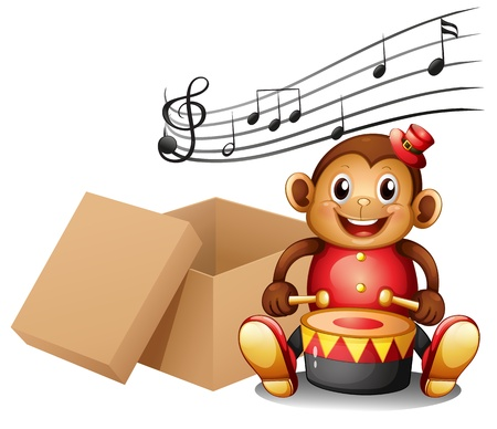Illustration of a monkey playing with musical notes and an empty box on a white background Vector