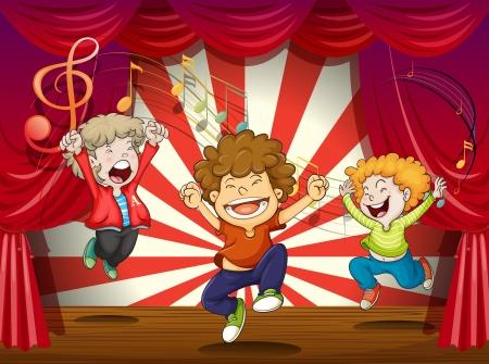 ni�o cantando: Ilustraci�n de ni�os cantando en el escenario Vectores