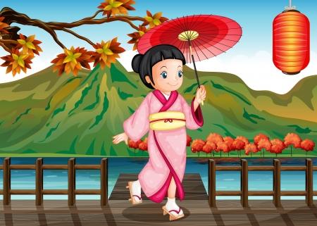 ponte giapponese: Illustrazione di una donna che indossa un kimono rosa con un ombrello