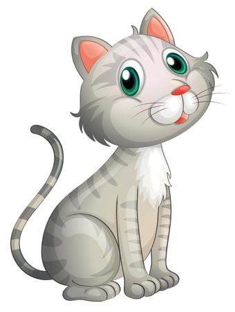 gato caricatura: Ilustraci�n de un gato adorable en un fondo blanco Vectores